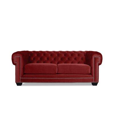 Alexander Chesterfield Sofa Upholstery: Red Velvet