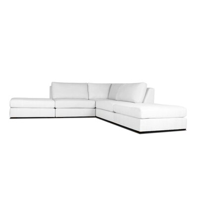 Glaude L-Shape Upholstered Modular Sectional Upholstery: White