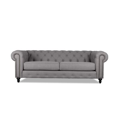 Hanover Tufted 90 Chesterfield Sofa Upholstery: Grey