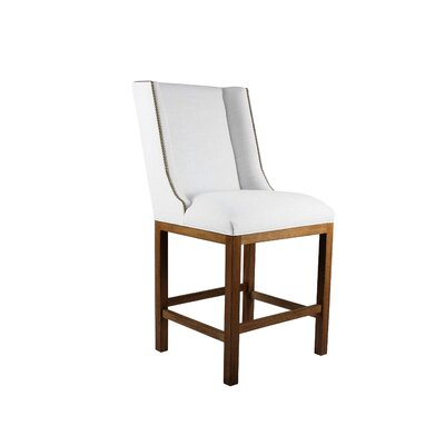 Harper 30 Bar Stool Upholstery: White, Finish: Gray