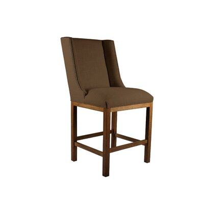 Harper 30 Bar Stool Upholstery: Brown, Finish: Gray