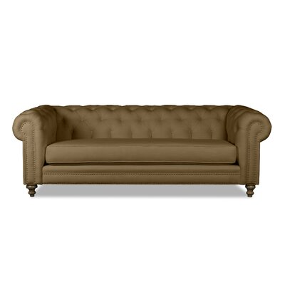 Hanover Tufted Linen Chesterfield Sofa Upholstery: Brown