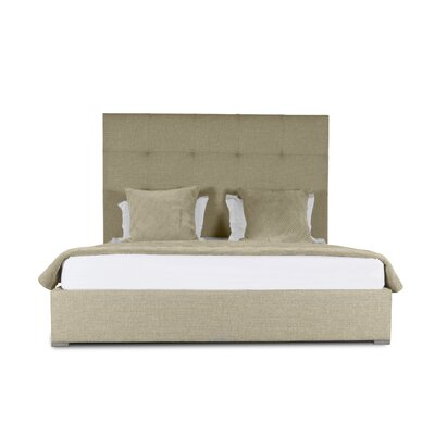 Handley Button Tufted Upholstered Panel Bed Color: Sand, Size: High Height California King