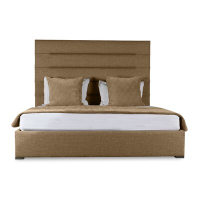 Handley Upholstered Panel Bed Color: Brown, Size: High Height King