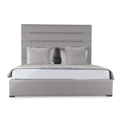 Handley Horizontal Channel Tufting Upholstered Panel Bed Color: Gray, Size: Mid Height Queen