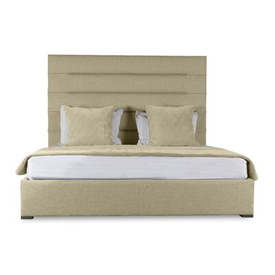 Handley Horizontal Channel Tufting Upholstered Panel Bed Color: Sand, Size: High Height Queen