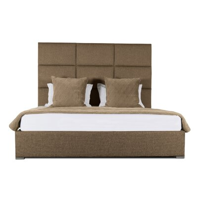 Handley Square Tufted Upholstered Panel Bed Color: Brown, Size: Mid Height Queen