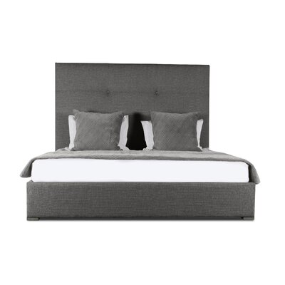 Handley Simple Tufted Upholstered Panel Bed Color: Charcoal, Size: Mid Height Queen