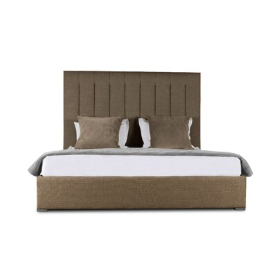 Handley Vertical Channel Tufting Upholstered Panel Bed Color: Brown, Size: High Height California King