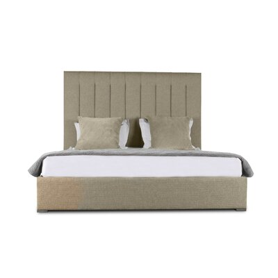 Handley Vertical Channel Tufting Upholstered Panel Bed Color: Sand, Size: Mid Height Queen