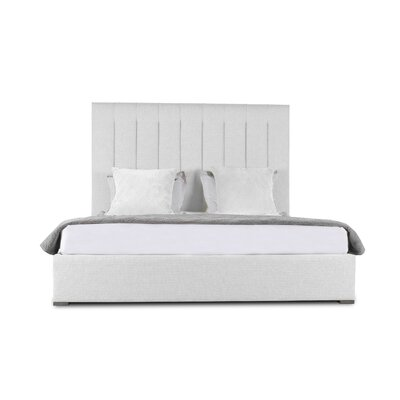 Handley Vertical Channel Tufting Upholstered Panel Bed Color: White, Size: Mid Height King