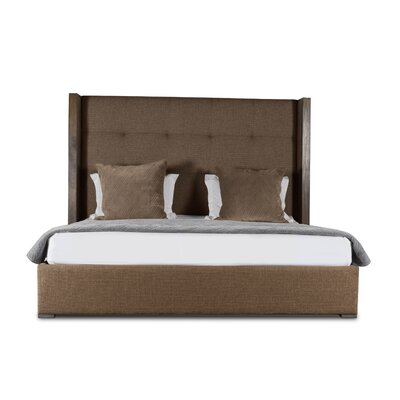 Hank Button Tufted Upholstered Panel Bed Color: Brown, Size: High Height King