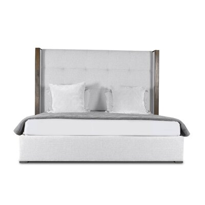 Hank Button Tufted Upholstered Panel Bed Color: White, Size: High Height King