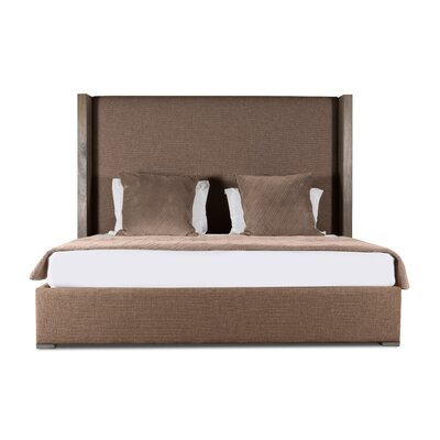 Hank Plain Upholstered Panel Bed Color: Brown, Size: High Height California King