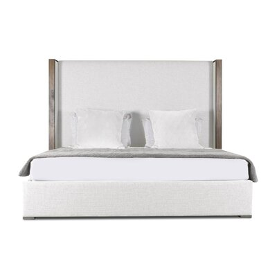 Hank Plain Upholstered Panel Bed Color: White, Size: Mid Height California King