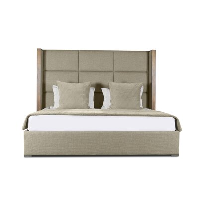 Hank Square Tufted Upholstered Panel Bed Color: Sand, Size: High Height King