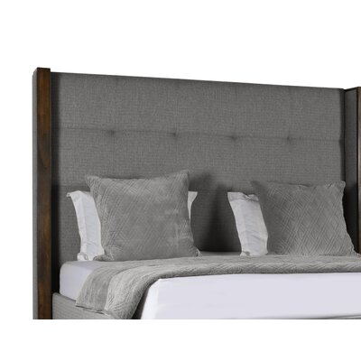 Hank Simple Tufted Upholstered Panel Bed Color: Gray, Size: Mid Height California King