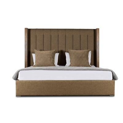 Hank Vertical Channel Tufting Upholstered Platform Bed Color: Brown, Size: High Height King