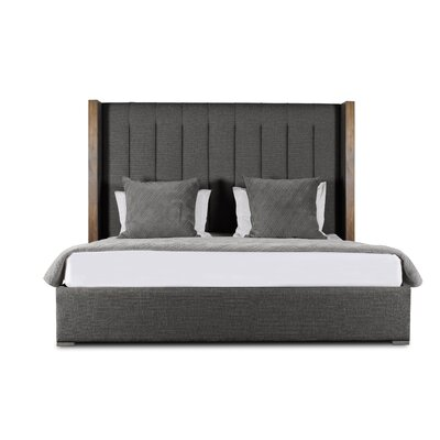 Hank Vertical Channel Tufting Upholstered Platform Bed Color: Charcoal, Size: Mid Height King