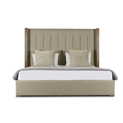 Hank Vertical Channel Tufting Upholstered Panel Bed Color: Sand, Size: High Height King