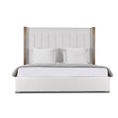 Hank Vertical Channel Tufting Upholstered Platform Bed Color: White, Size: High Height Queen