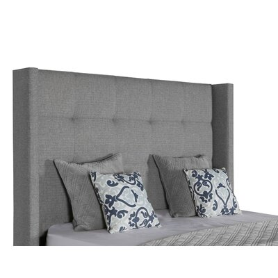 Hansen Button Tufted Upholstered Panel Bed Color: Gray, Size: High Height California King