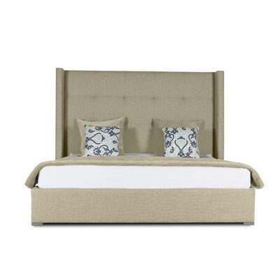 Hansen Button Tufted Upholstered Panel Bed Color: Sand, Size: Mid Height King