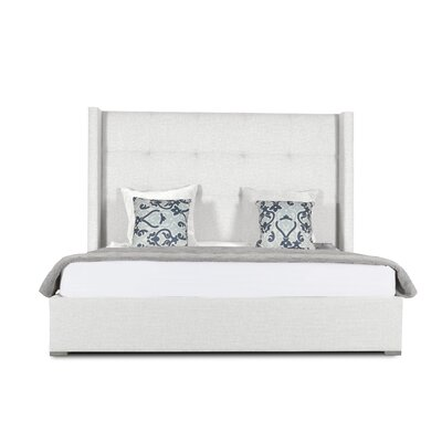 Hansen Button Tufted Upholstered Panel Bed Color: White, Size: High Height King