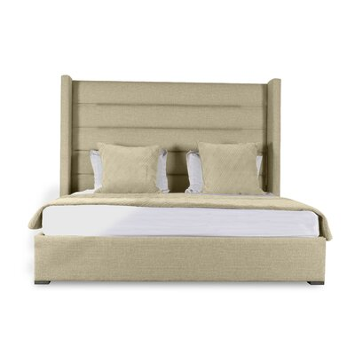 Hansen Horizontal Channel Tufting Upholstered Panel Bed Color: Sand, Size: High Height King