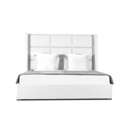 Hansen Square Tufted Upholstered Panel Bed Color: White, Size: High Height King