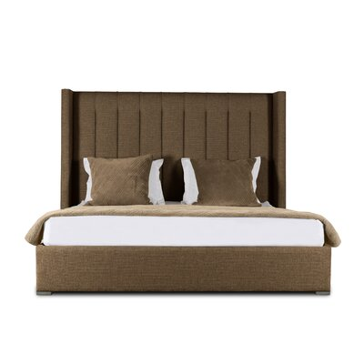 Hansen Vertical Channel Tufting Upholstered Panel Bed Color: Brown, Size: High Height King