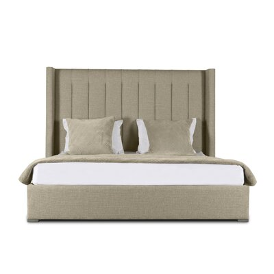 Hansen Vertical Channel Tufting Upholstered Panel Bed Color: Sand, Size: Mid Height California King