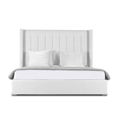 Hansen Vertical Channel Tufting Upholstered Panel Bed Color: White, Size: High Height King