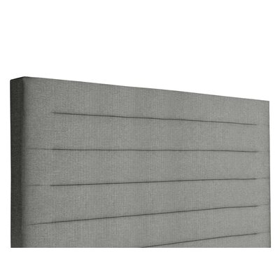 Handley Horizontal Channel Tufting Upholstered Wingback Headboard Color: Gray, Size: Mid Height Queen