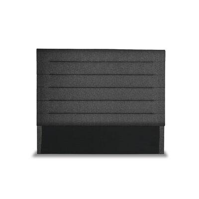 Handley Horizontal Channel Tufting Upholstered Wingback Headboard Color: Charcoal, Size: Mid Height Queen