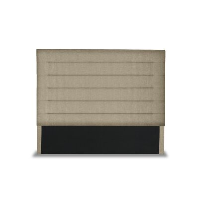 Handley Horizontal Channel Tufting Upholstered Wingback Headboard Color: Sand, Size: Mid Height Queen