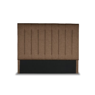 Handley Vertical Channel Tufting Upholstered Wingback Headboard Color: Brown, Size: Mid Height Queen