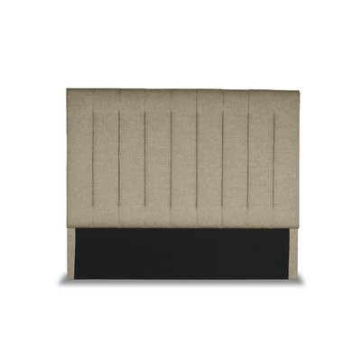 Handley Vertical Channel Tufting Upholstered Wingback Headboard Color: Sand, Size: Mid Height Queen