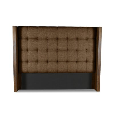 Hank Box Tufting Upholstered Wingback Headboard Color: Brown, Size: High Height Queen