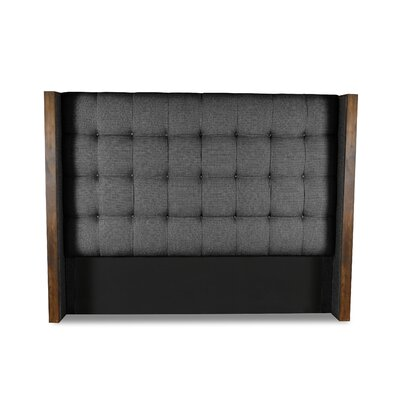 Hank Box Tufting Upholstered Wingback Headboard Color: Charcoal, Size: High Height Queen