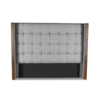Hank Box Tufting Upholstered Wingback Headboard Color: Gray, Size: Mid Height King