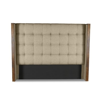 Hank Box Tufting Upholstered Wingback Headboard Color: Sand, Size: Mid Height Queen