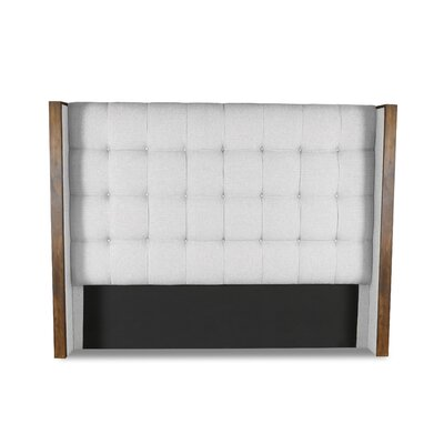 Hank Box Tufting Upholstered Wingback Headboard Color: White, Size: Mid Height Queen