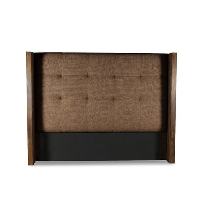 Hank Button Tufted Upholstered Wingback Headboard Color: Brown, Size: Mid Height Queen