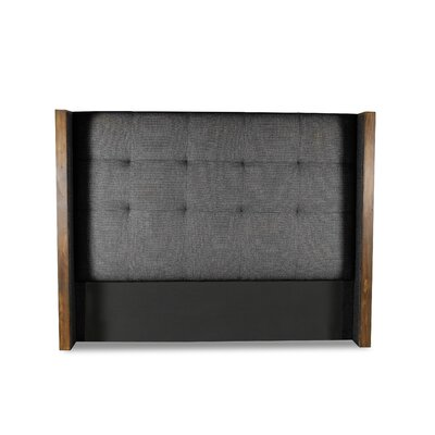 Hank Button Tufted Upholstered Wingback Headboard Color: Charcoal, Size: Mid Height King