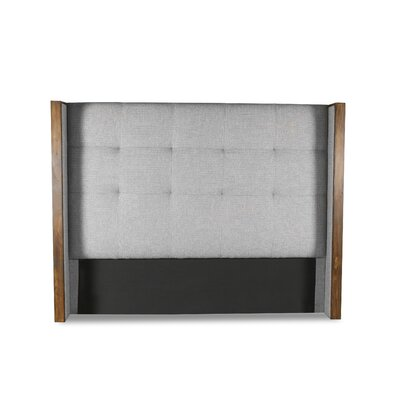 Hank Button Tufted Upholstered Wingback Headboard Color: Gray, Size: Mid Height Queen