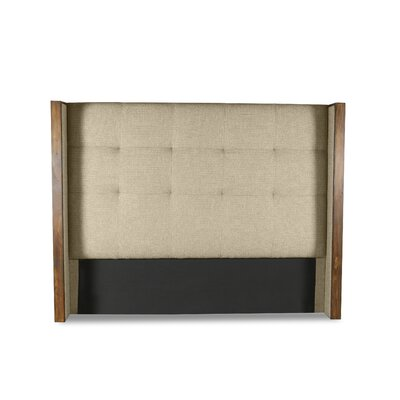 Hank Button Tufted Upholstered Wingback Headboard Color: Sand, Size: Mid Height Queen