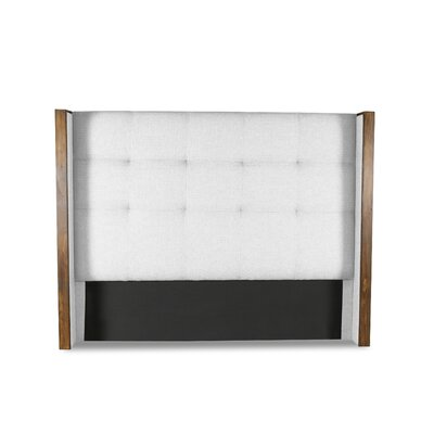 Hank Button Tufted Upholstered Wingback Headboard Color: White, Size: Mid Height King