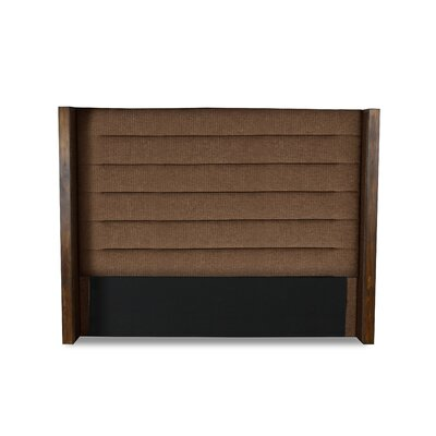 Hank Horizontal Channel Tufting Upholstered Wingback Headboard Color: Brown, Size: Mid Height Queen
