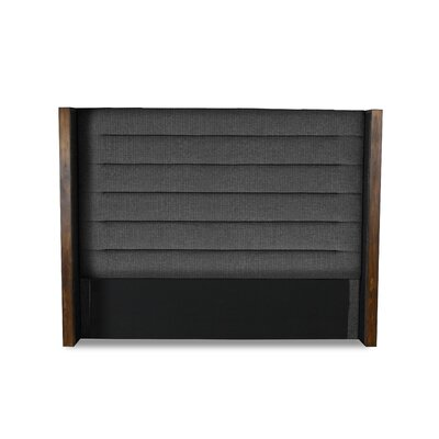 Hank Horizontal Channel Tufting Upholstered Wingback Headboard Color: Charcoal, Size: Mid Height Queen